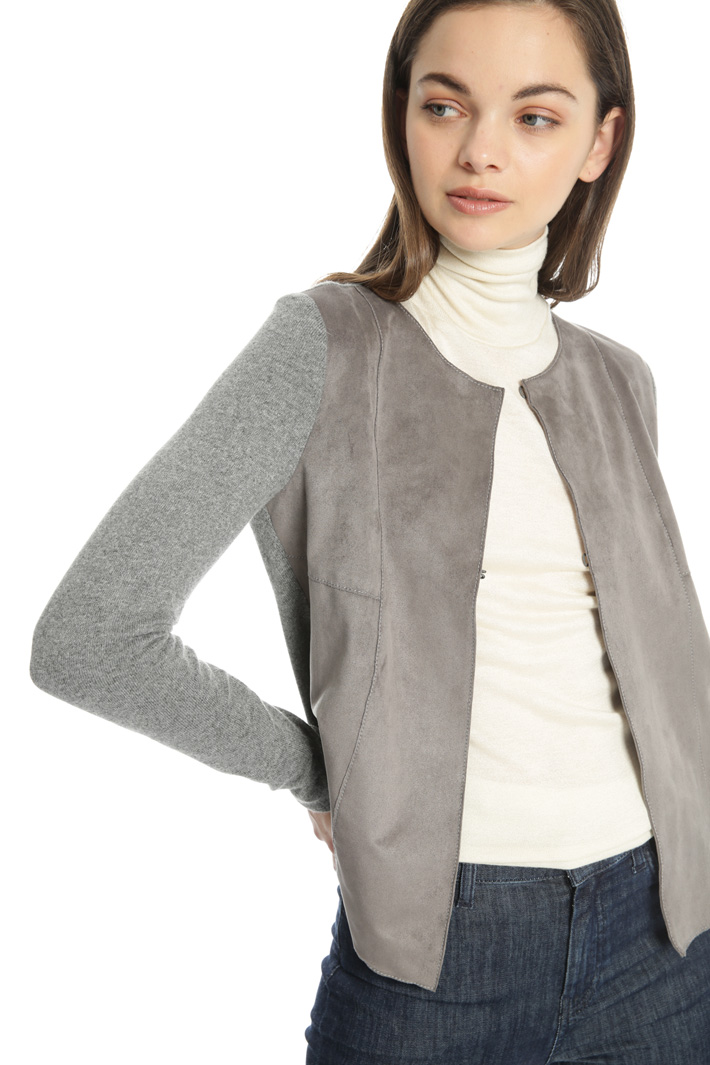 Cardigan with a fabric insert Intrend