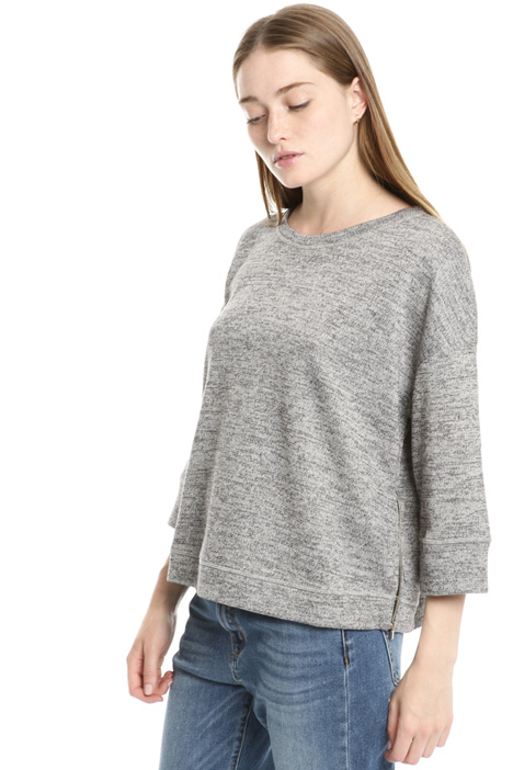 Zipped slub sweater Intrend