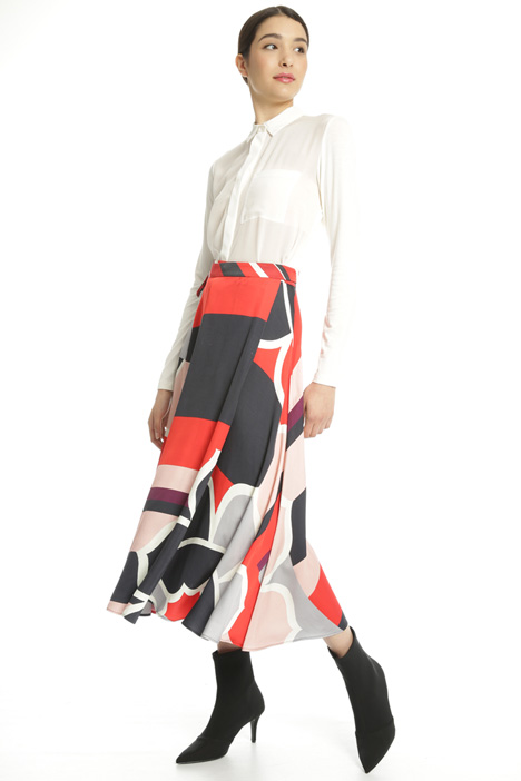 Printed satin midi skirt Intrend