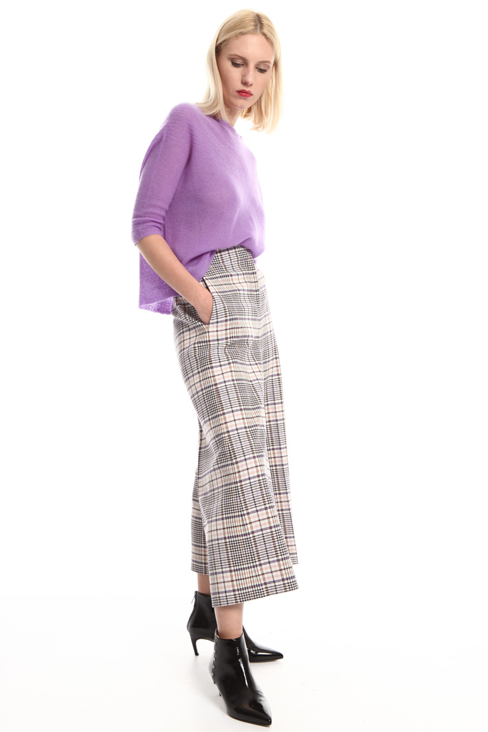 Cropped yarn-dyed trousers Intrend