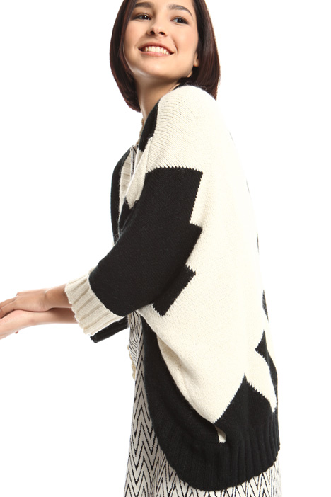 Loose fit intarsia cardigan Intrend