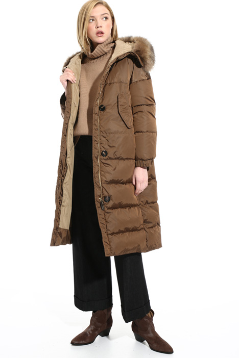 Fur trim hood coat Intrend
