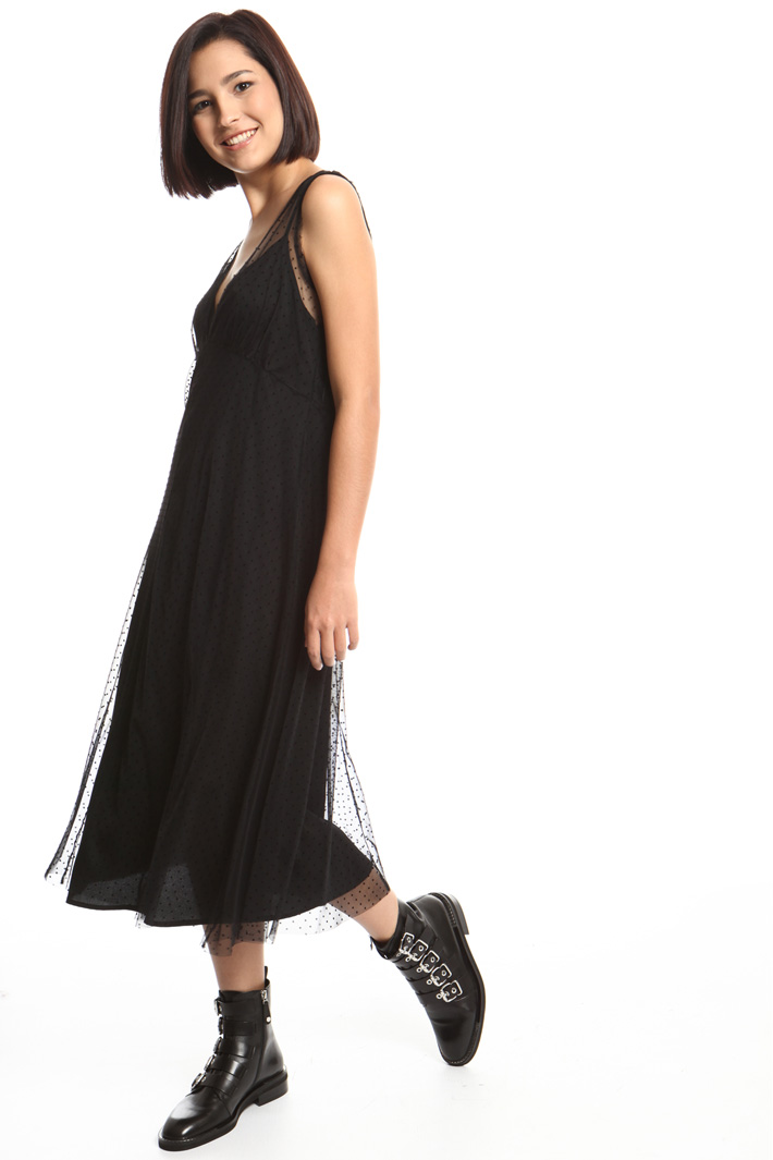 Flock print dress Intrend