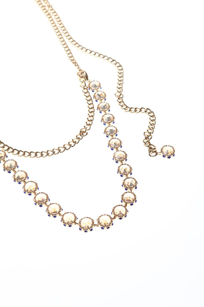 Metal necklace with crystals Intrend