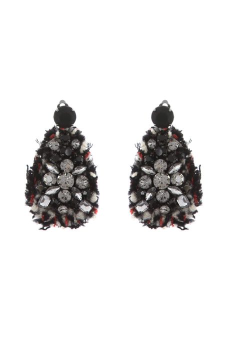 Tweed earrings with rhinestone Intrend