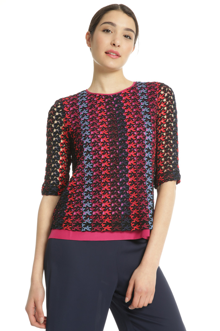 Multicoloured macramé top Intrend