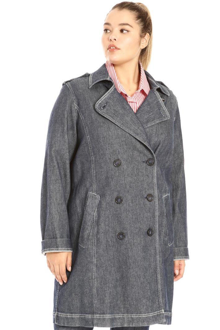 Stretch denim duster coat Intrend