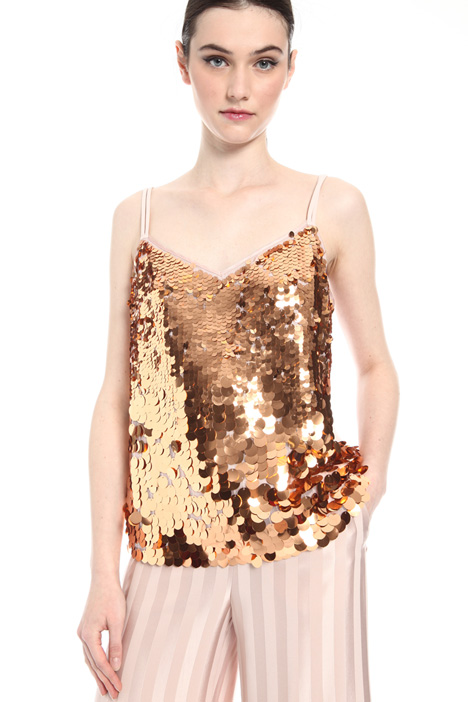 Top in tulle with sequins    Intrend