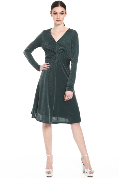 V-neck knot lurex dress Intrend