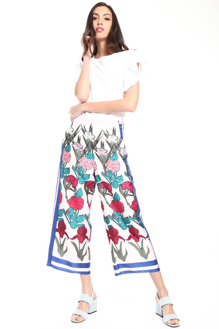 Printed twill trousers Intrend