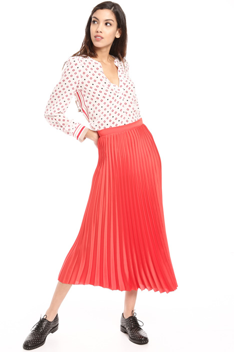 Pleated twill midi skirt Intrend