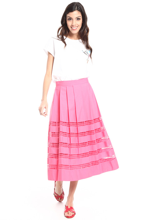 Perforated cotton midi skirt Intrend