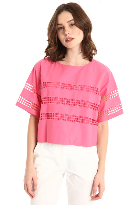 Crop top in perforated cotton Intrend