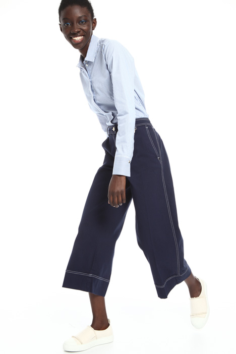Folded hem cotton trousers Intrend