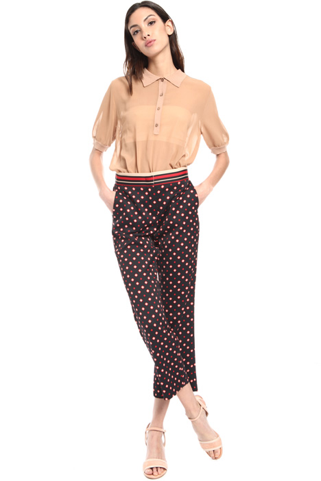 All-over print satin trousers Intrend