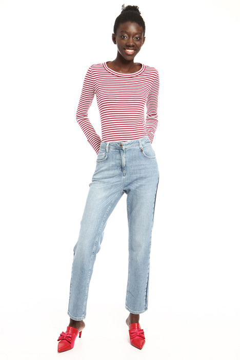Side band denim trousers Intrend