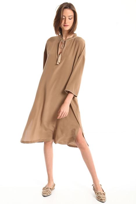 Tie-fastening neck silk dress Intrend