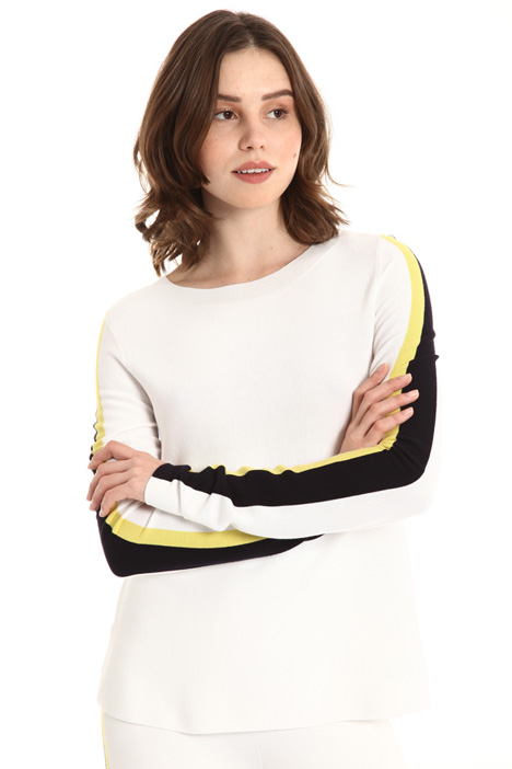 Two tone side band sweater Intrend