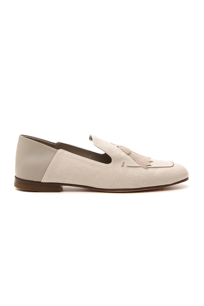 Leather and linen moccasin Intrend