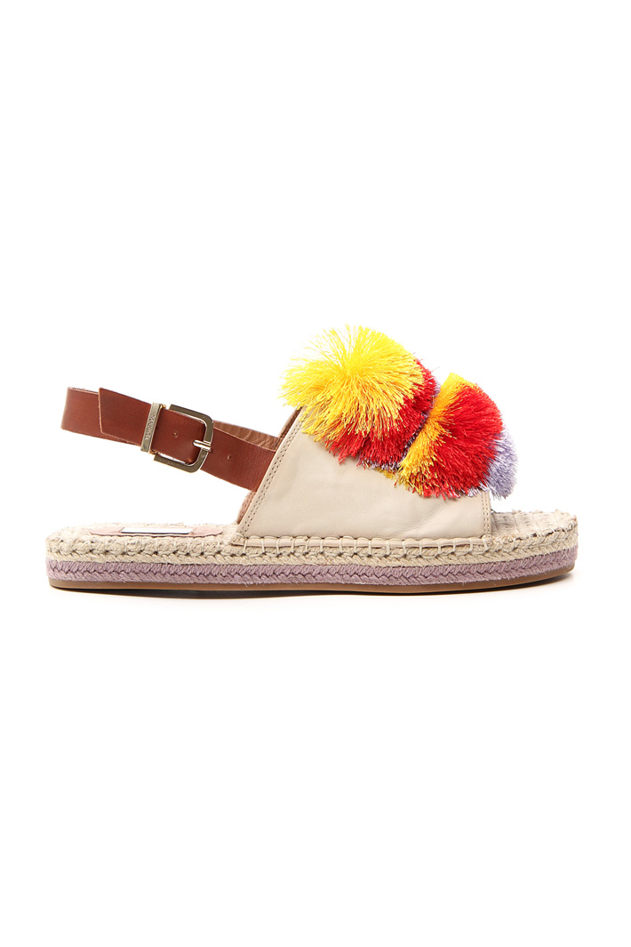 Sandals with maxi pom poms   Intrend