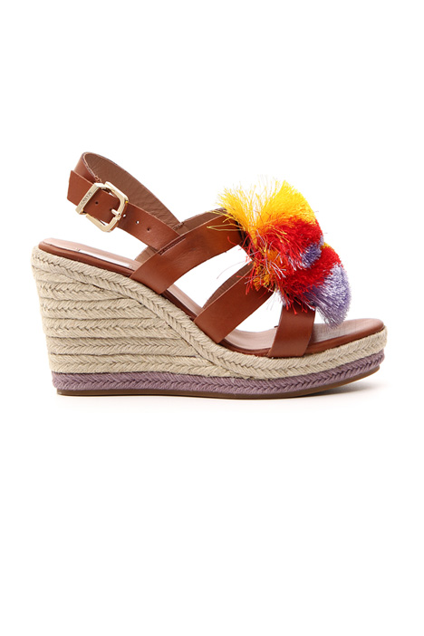 High sandals with maxi pom poms    Intrend
