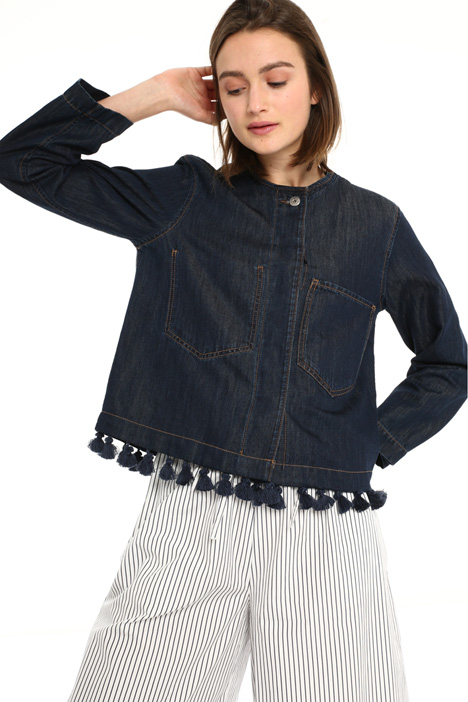 Tassel hem denim jacket Intrend