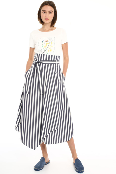 Cotton poplin wrap-up skirt Intrend