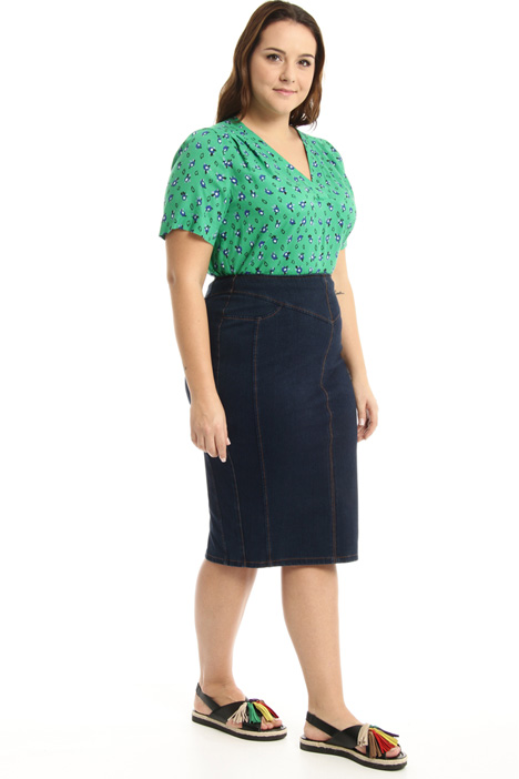 Cotton denim sheath skirt Intrend