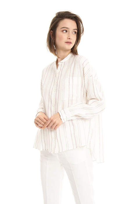 Band collar linen shirt Intrend