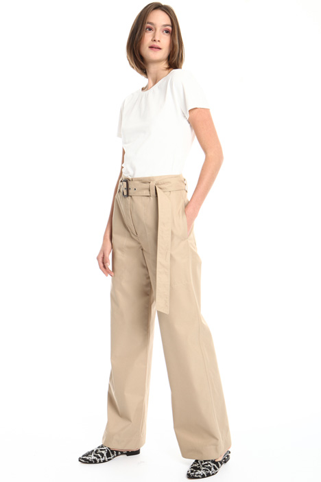 Belted cotton trousers Intrend