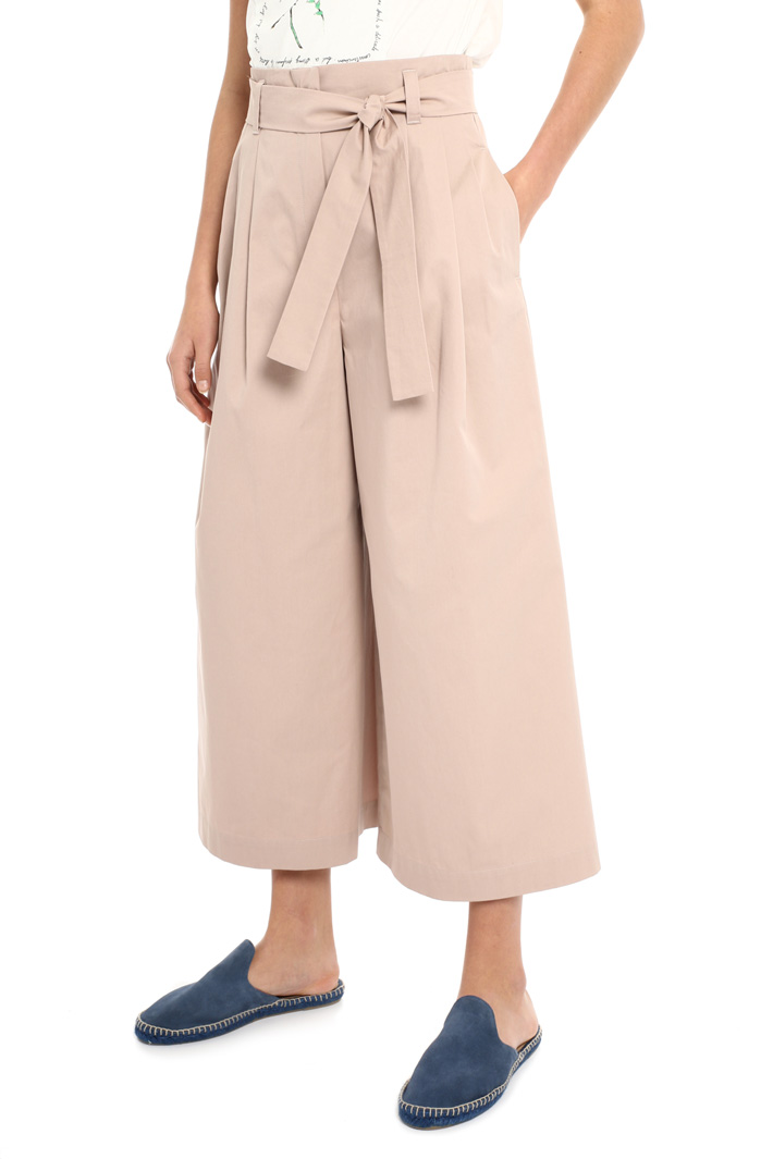 Belted crop cotton trousers Intrend