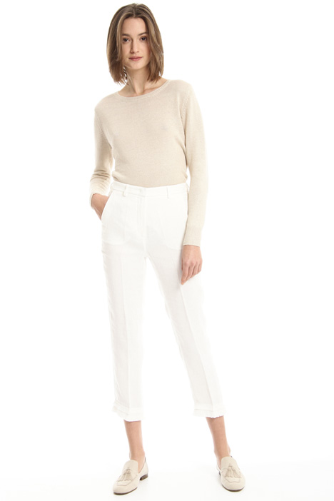 Fringed linen trousers Intrend