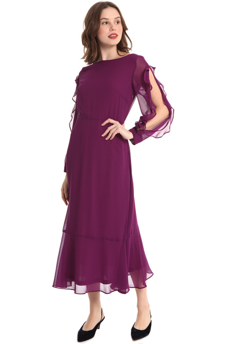 Back V-neck georgette dress Intrend