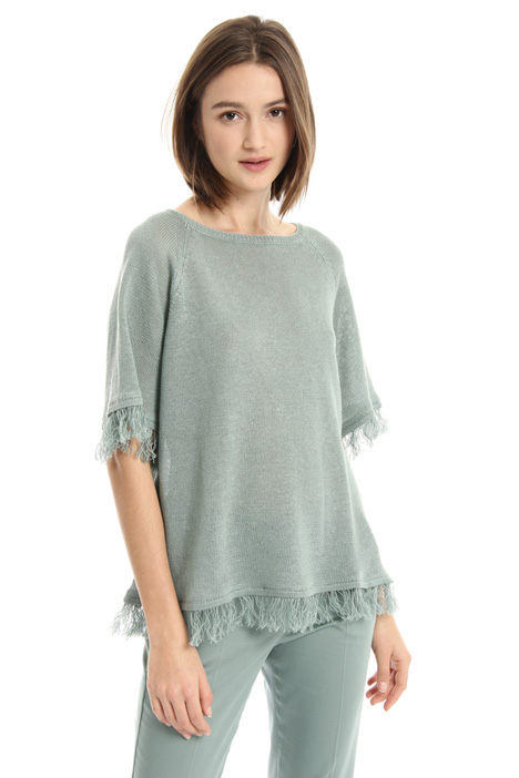 Fringed linen sweater Intrend