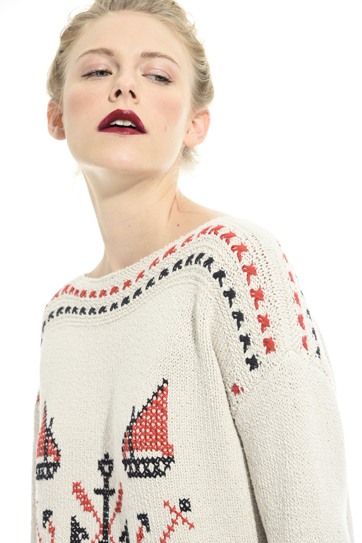 Patterned cotton sweater Intrend