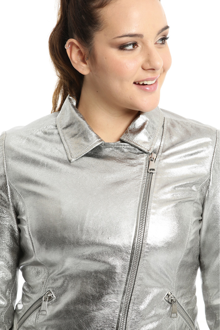 Laminated leather jacket Intrend