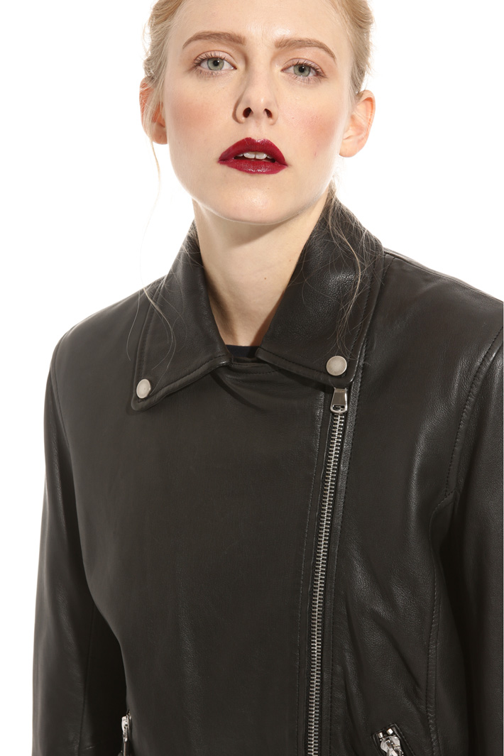 Zip leather jacket  Intrend