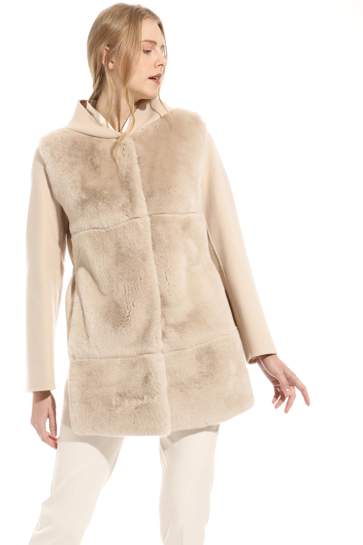 Coat with fur front Intrend