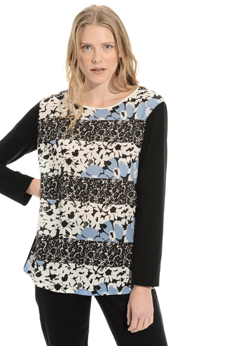 Cotton Tee with silk front Intrend