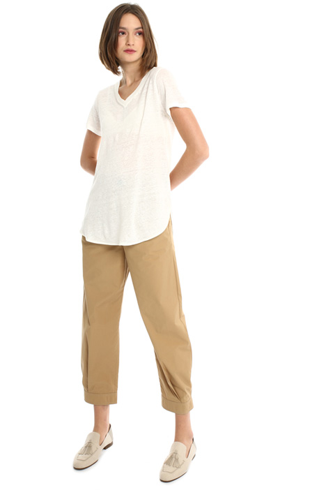 Round bottom linen T-shirt Intrend