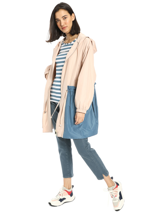 Two-tone drawstring rain coat Intrend
