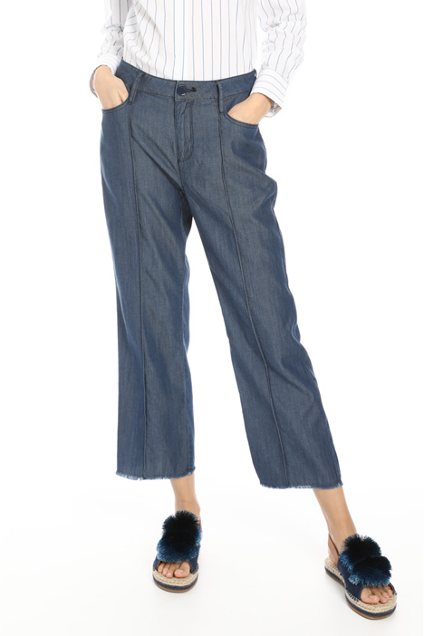 Central pleat denim trousers Intrend