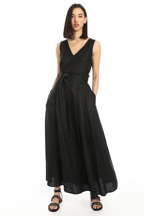 Back zip linen dress Intrend