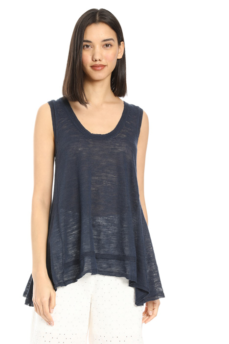 Flared cotton and linen top Intrend