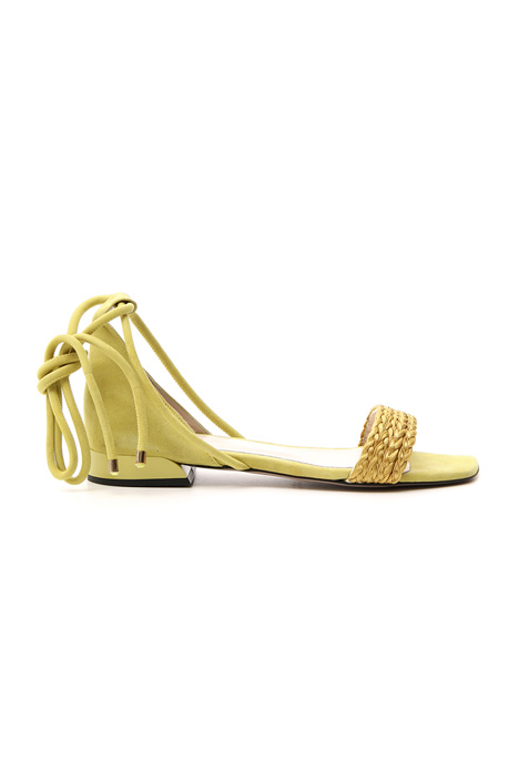 Leather sandal with braids Intrend