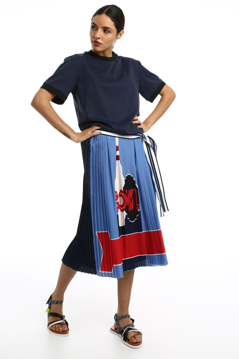Flounced crepe de chine skirt Intrend