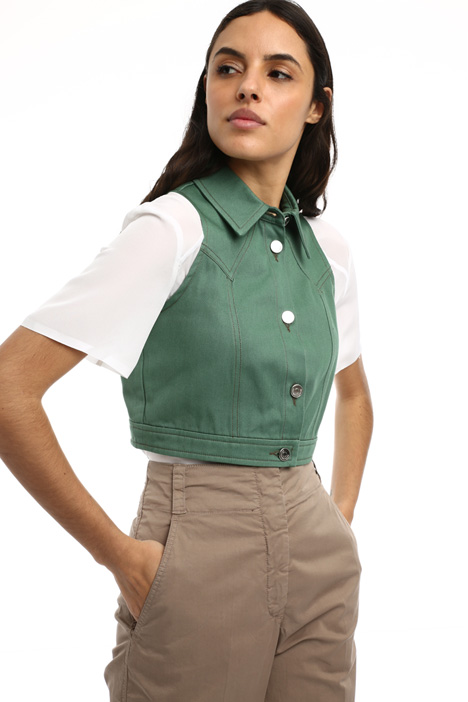 Cropped cotton drill vest Intrend