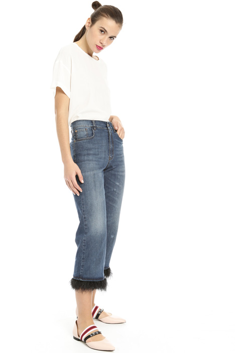 Feather trim jeans Intrend
