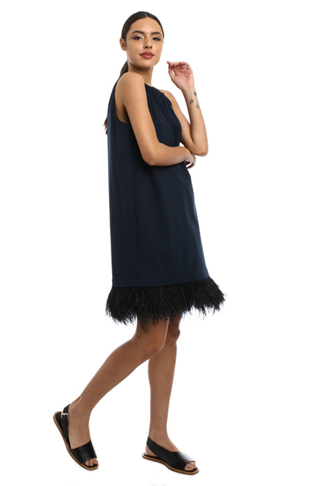 Feather trim dress Intrend