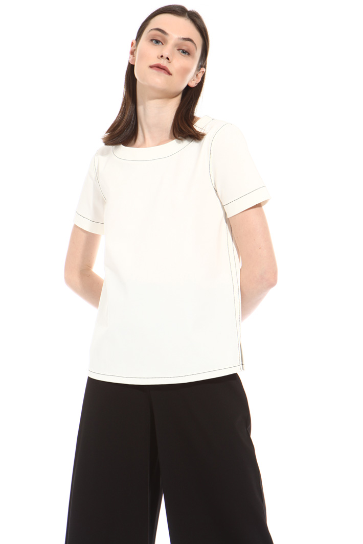 Boxy fit jersey sweater  Intrend